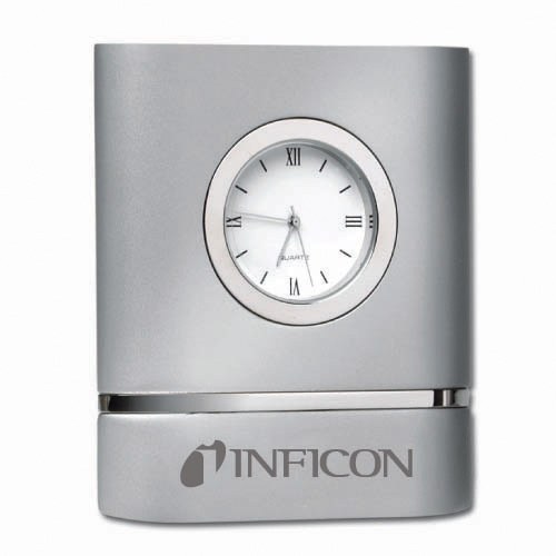 Desk Clock Brush Silver Two Toned DSK0008