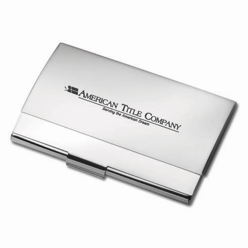 Business Card Holder- Brush & Silver ACC1004