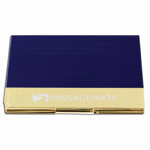 Business Card Holder- Navy & Gold ACC1013