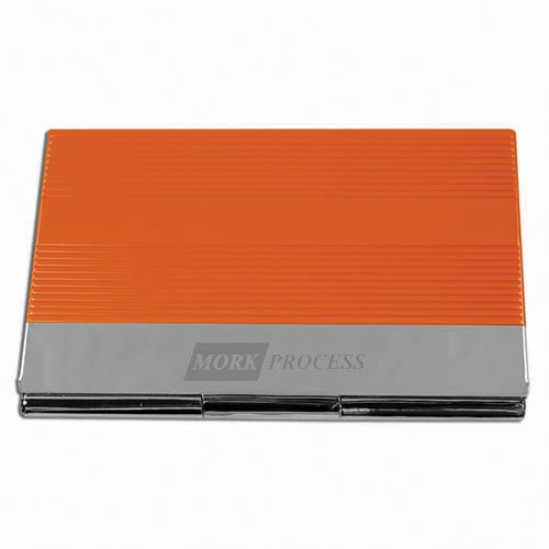 Business Card Holder- Orange & Silver ACC1012