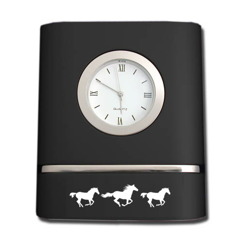 Desk Clock- Brush Black Two Toned